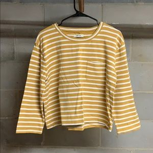 Madewell Mustard Striped Crop